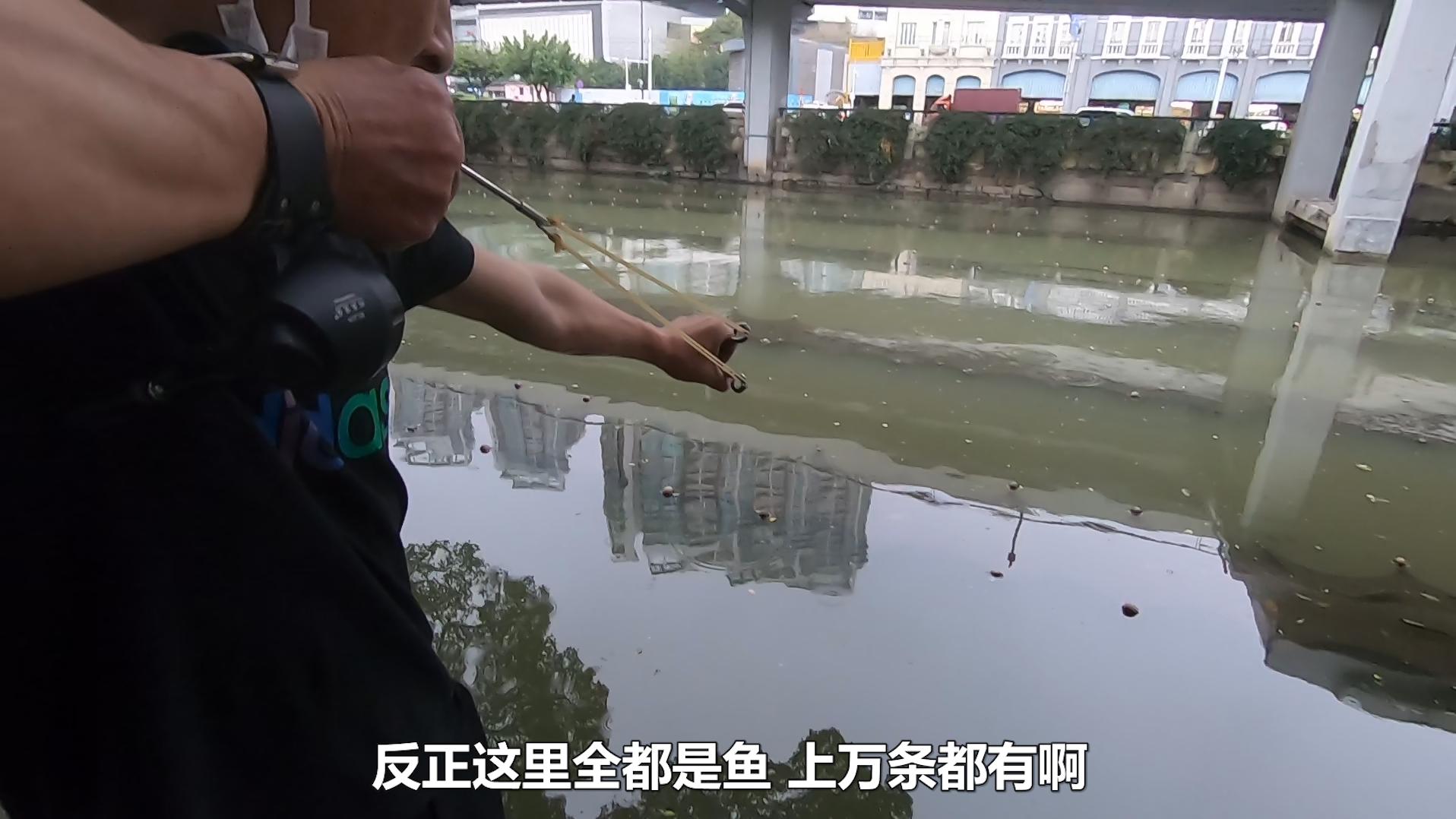 广州珠江边很多人在钓鱼,看大叔的射鱼工具,能打中吗?