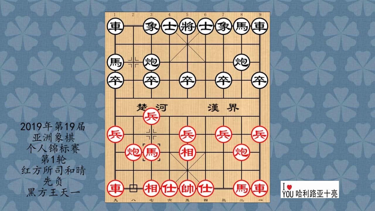 2019年第19届亚洲象棋个人锦标赛第1轮,所司和晴先负王天一