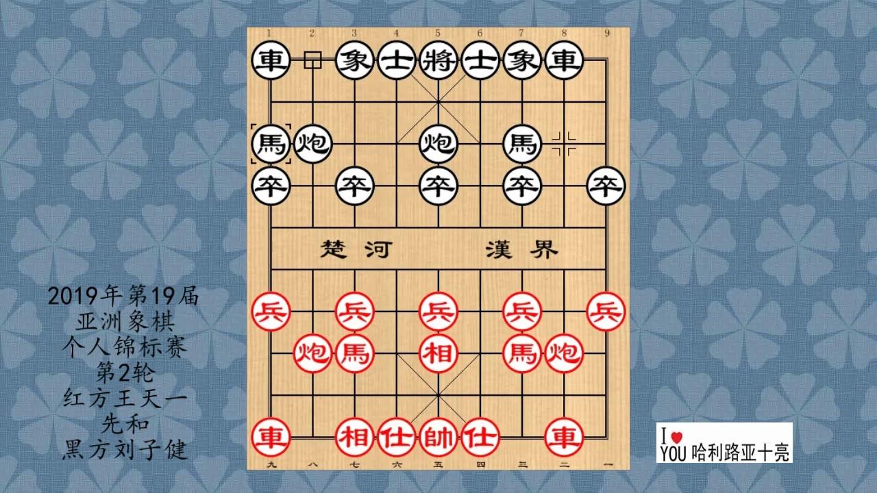 2019年第19届亚洲象棋个人锦标赛第2轮,王天一先和刘子健