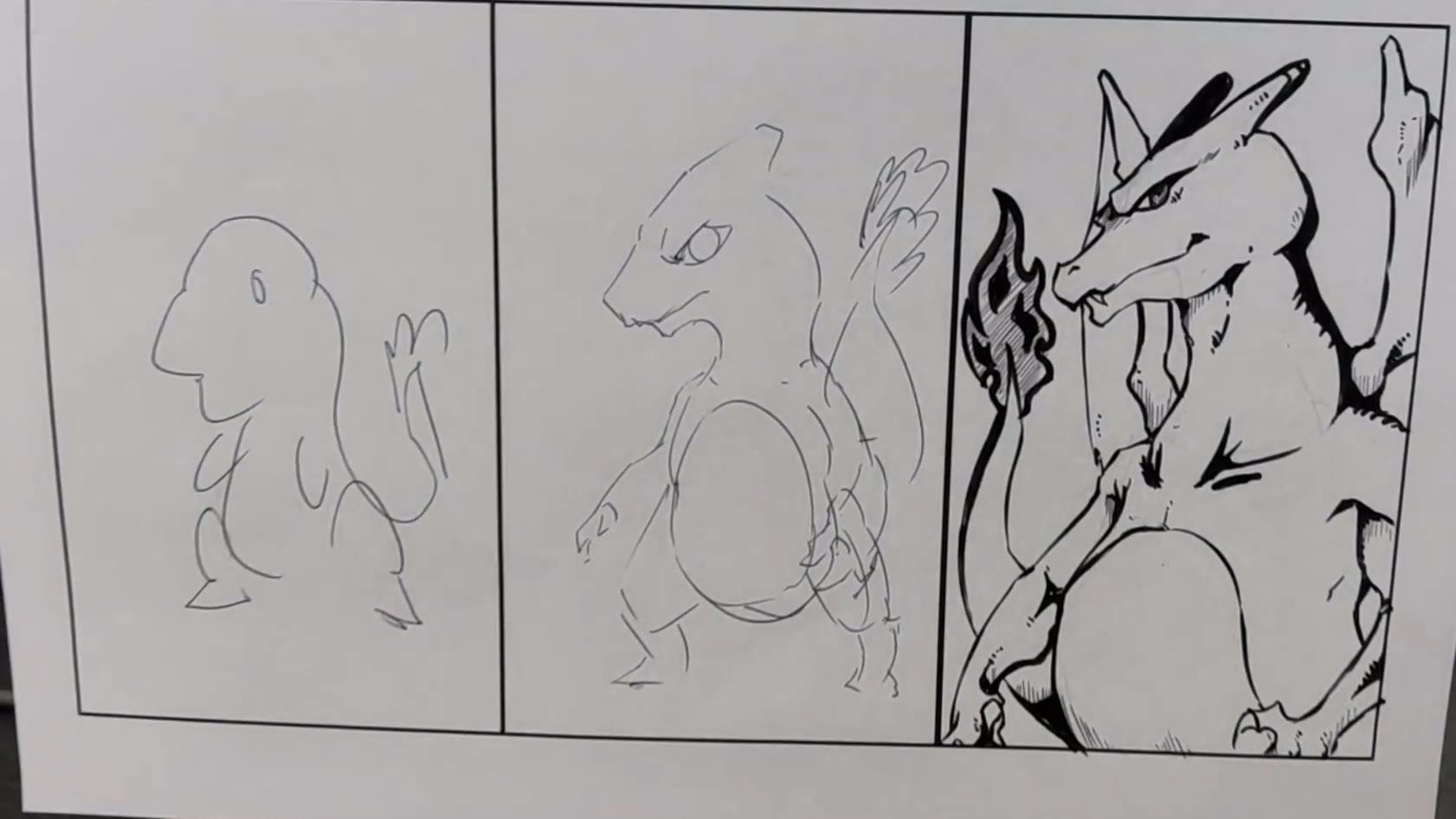 胖子10分钟画宠物小精灵进化过程,10秒钟你猜到是哪只了吗?