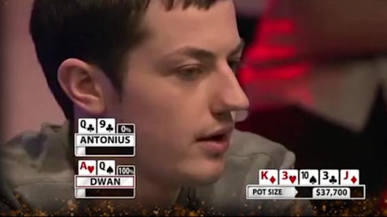 德州扑克:Tom dwan毒王开启斗战神佛模式  配合荷官横扫一桌人 大光头又双叒输了