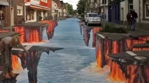 城市壁画很逼真