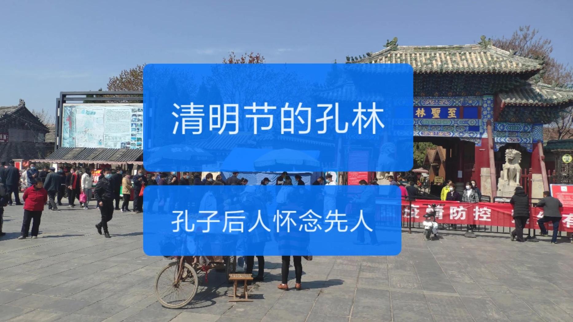清明节农村小伙实拍孔林,人们排队安检消毒进入最大墓地孔林祭祖