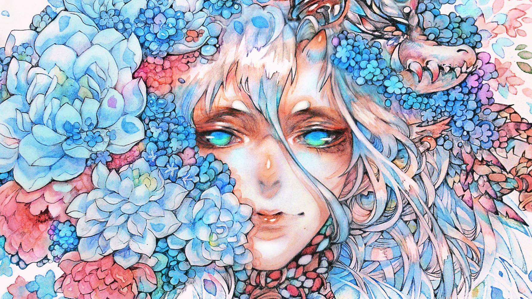 【食蝉】手绘水彩上色 +花葬+