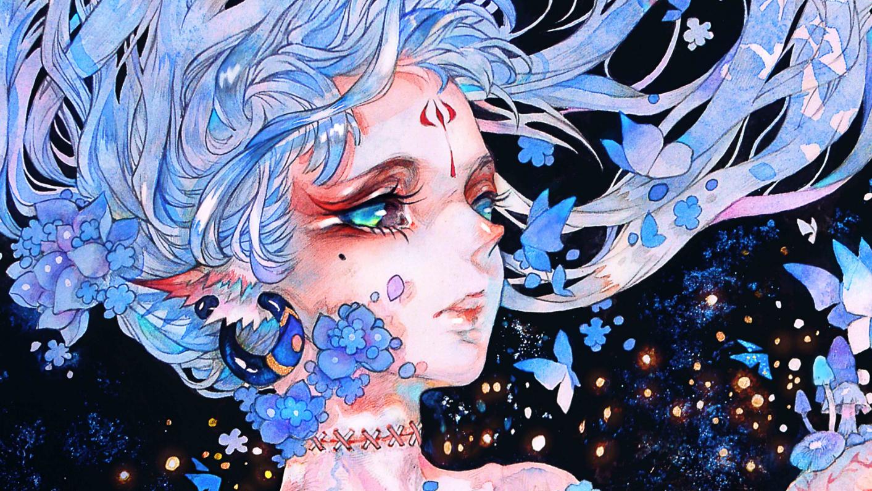 【食蝉】手绘水彩线稿-蛹化の女-