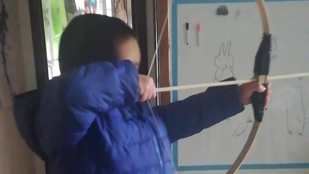 传统弓,UP家的崽使用竹弓射箭