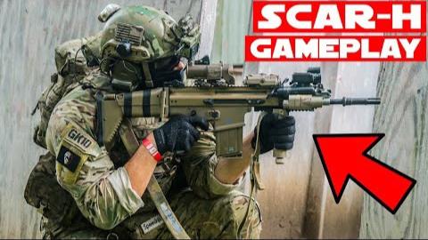 SCAR-H Airsoft游戏!(反冲冲击)