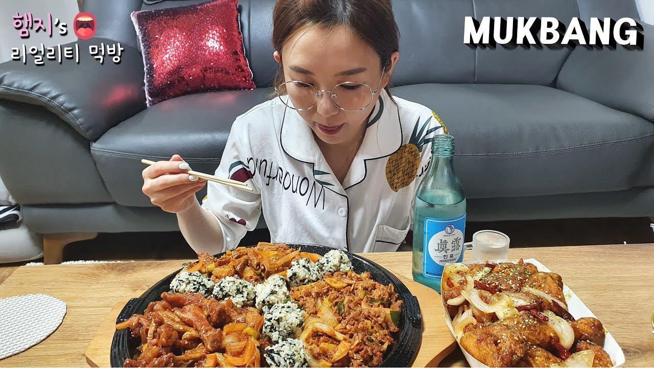 Hamzy~辣味鸡爪,脆骨,肥肠,炸鸡~下酒菜大集合~!(ft.烧酒,饭团~)