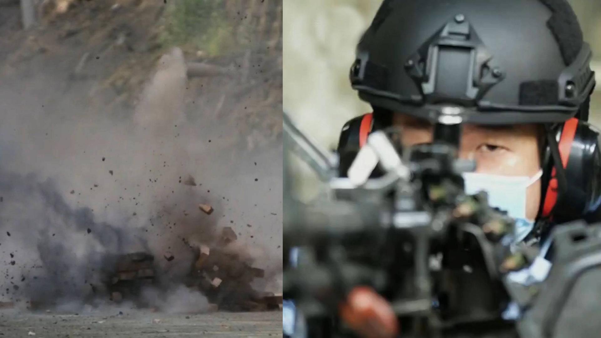 躲在墙后面就安全了?国产12.7毫米重机枪打爆砖墙,瞬间爆裂