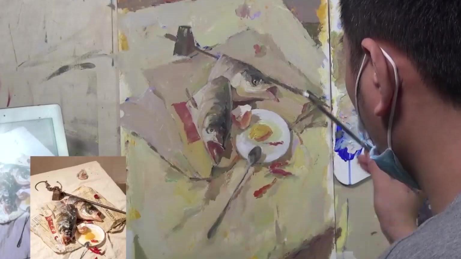 杭州吴越画室丨刘泉河色彩静物鱼头快放视频