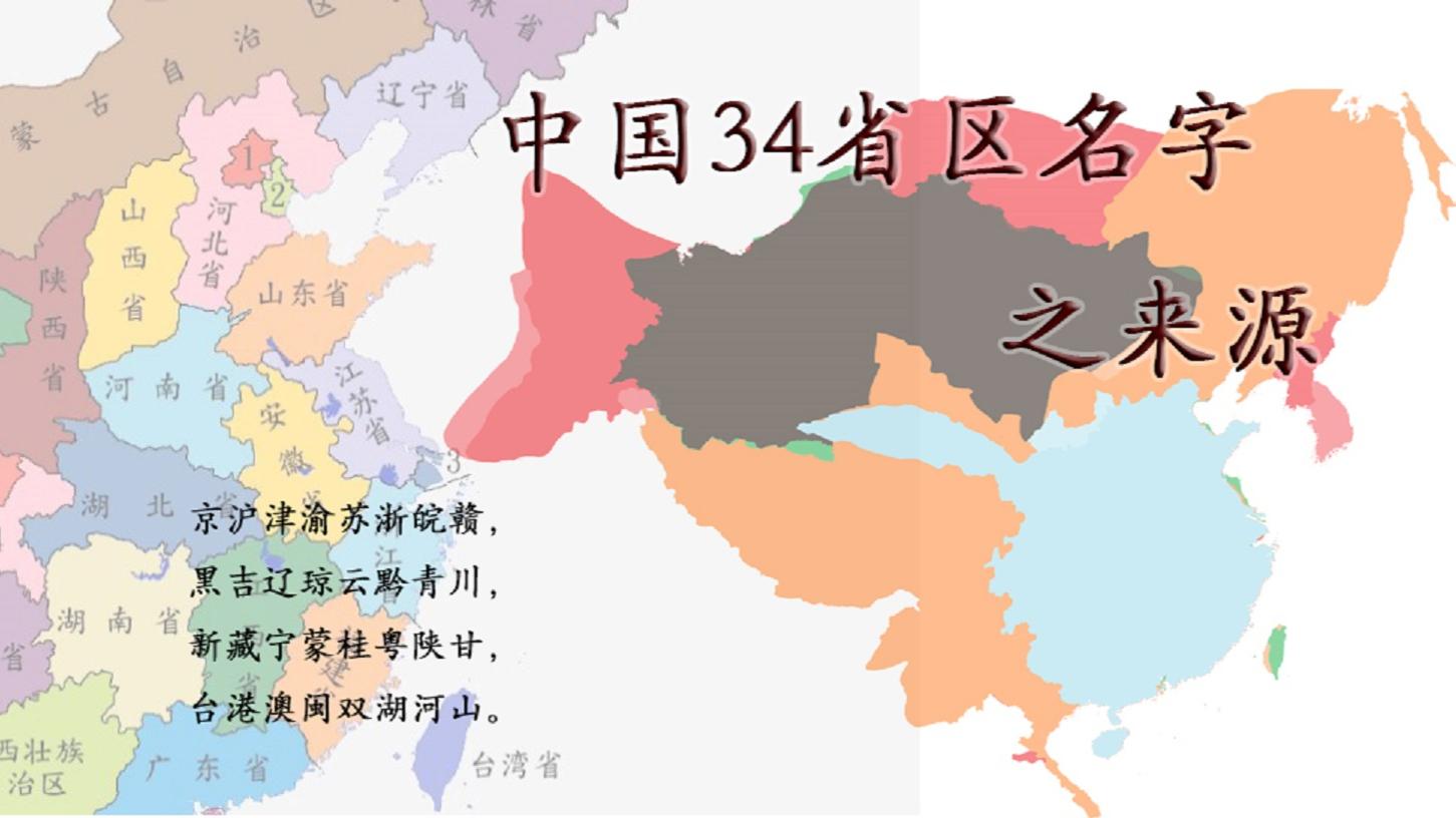 中国34省区名字之来源