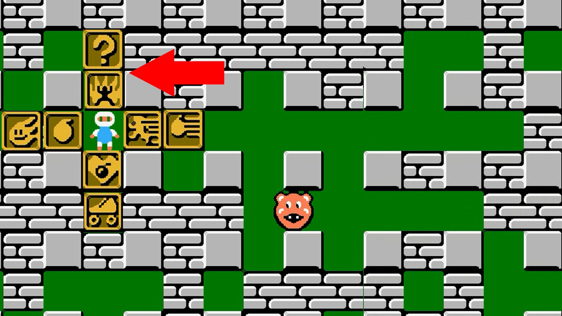 fc游戏《炸弹人》所有道具一览,终于明白了小人道具和问号的作用