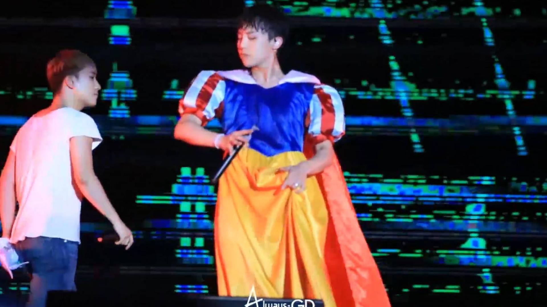 bigbang演唱会,权志龙白雪公主版,你见过这么狂野的公主吗?