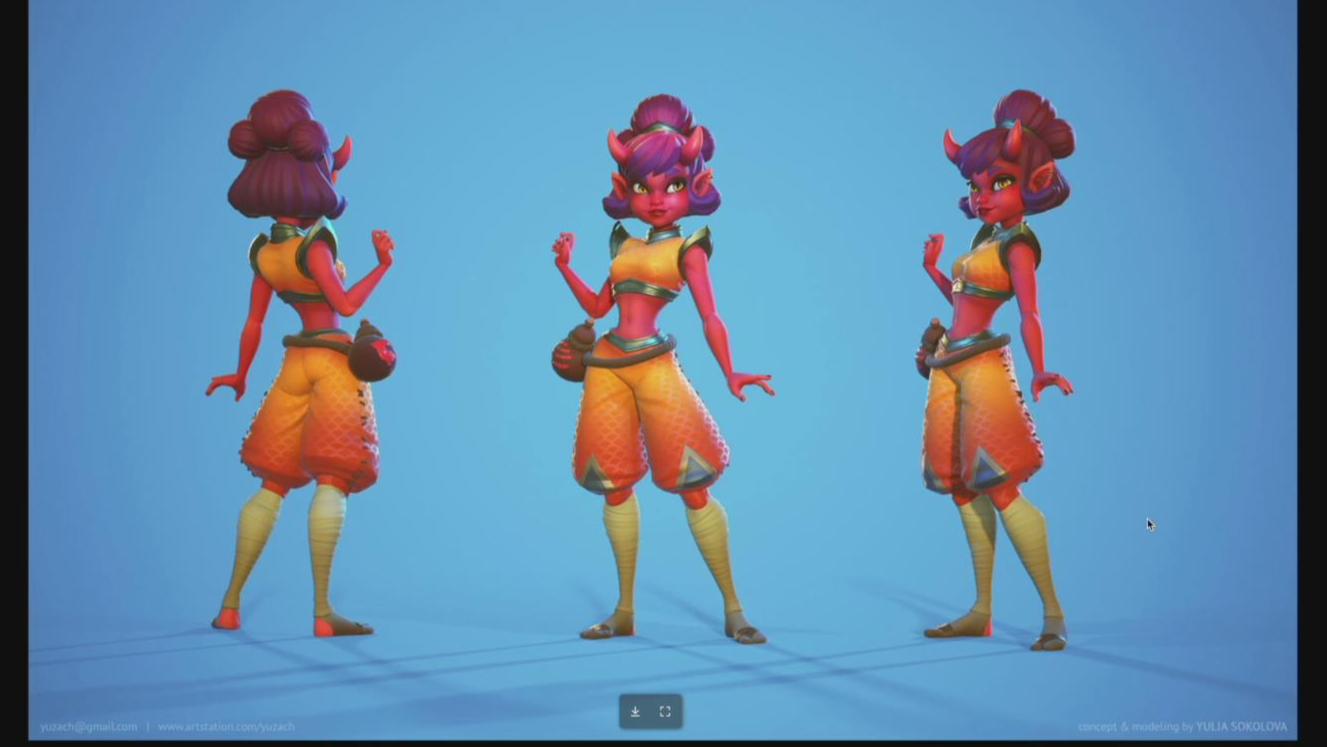 【ZBrush】女性游戏角色大师级完整制作流程教程(中英双字)