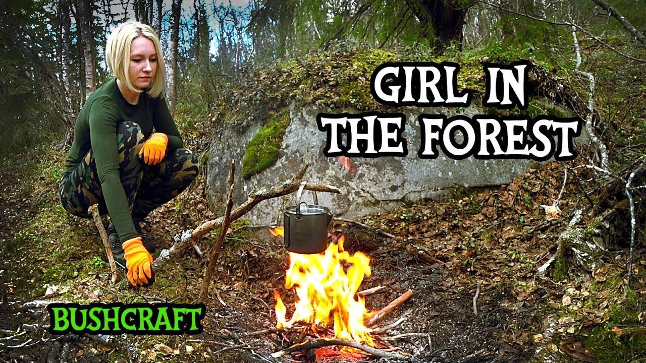 【毛妹露营】独行林中的野餐-吊床篝火上的食物(My Forest Hobby)
