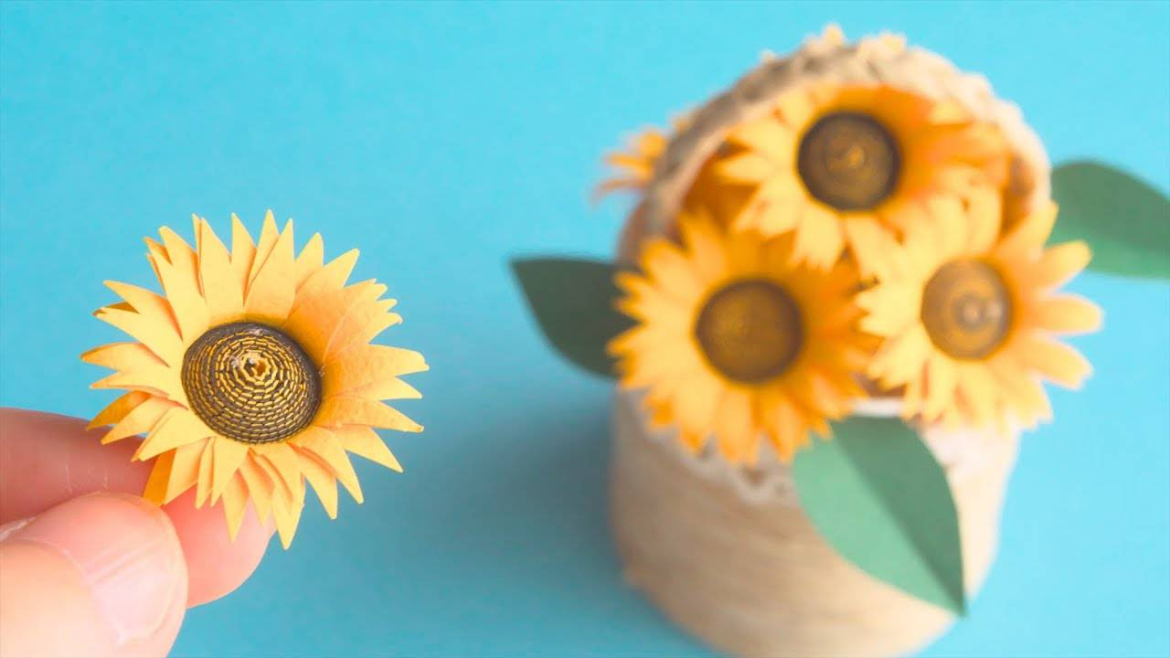 好漂亮的折纸向日葵,折一盆摆在桌上当装饰,太赞了!