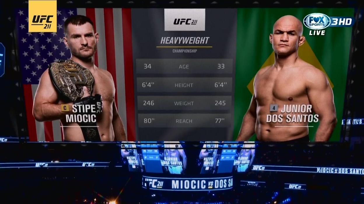 UFC211台湾解说  Stipe米欧奇 vs Dos桑托斯 Ⅱ战