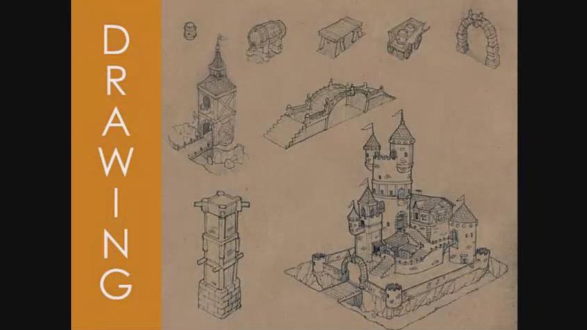 【手绘】铅笔手绘游戏建筑素描黄皮书实例训练教程(中英双字)