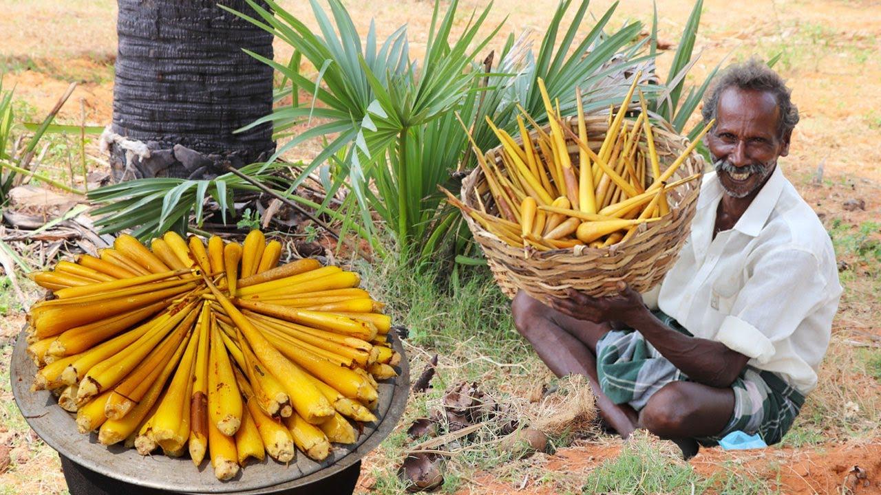 印度老大爷,挖新鲜的棕榈芽,看看他是什么吃法!
