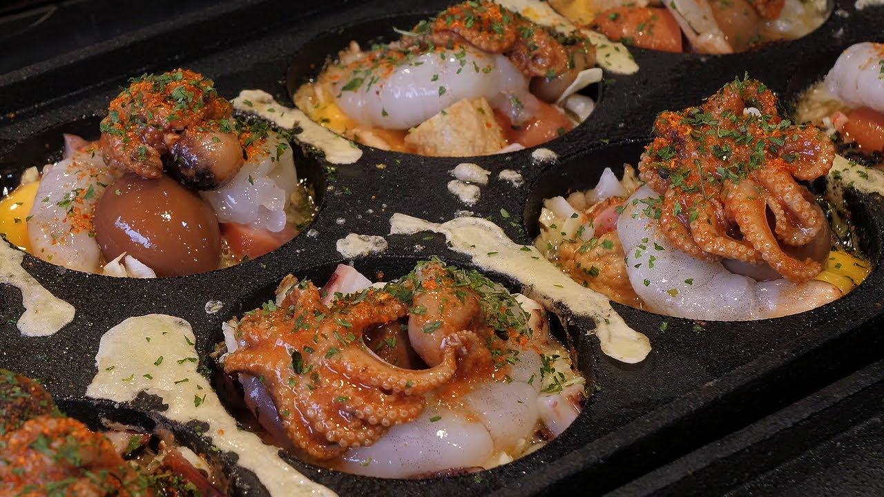 史上最强章鱼烧,用料真的不要太多 和我吃过的太不一样 韩国小吃!