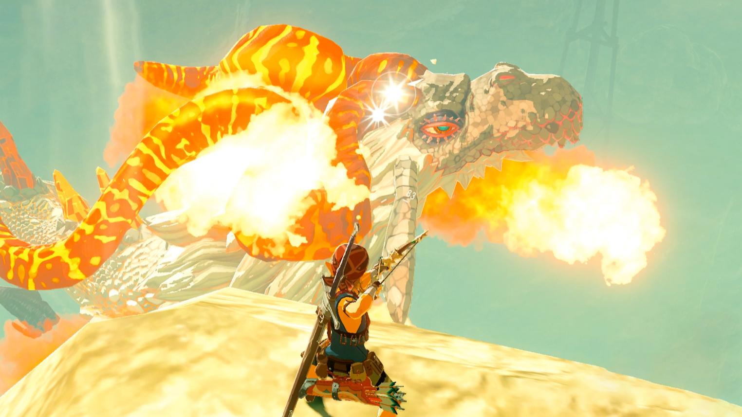 塞尔达传说:旷野之息:45-大峡谷巧遇威严巨大的火龙,弓箭射击获得龙鳞解密隐藏神庙