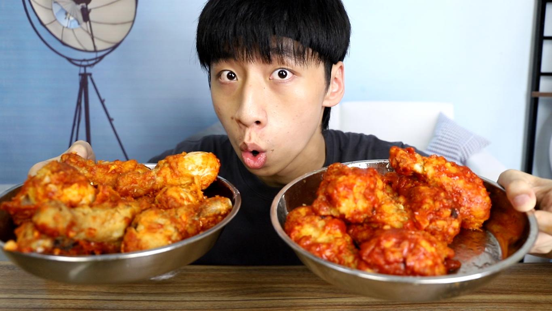 5斤鸡腿做韩式炸鸡腿,帅小伙做了满满两大盘吃着太过瘾了!