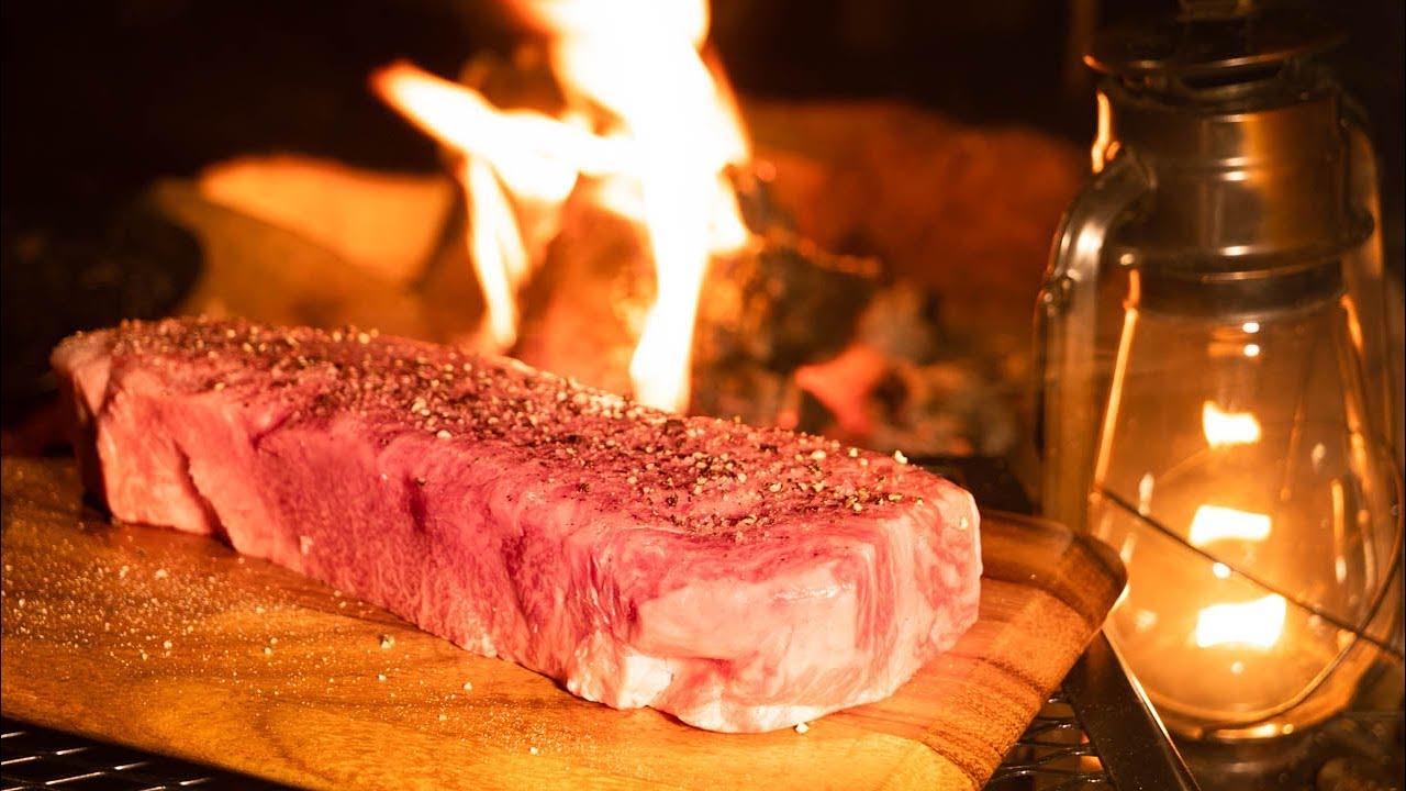【日本美食露营】用篝火烤厚的~和牛牛排