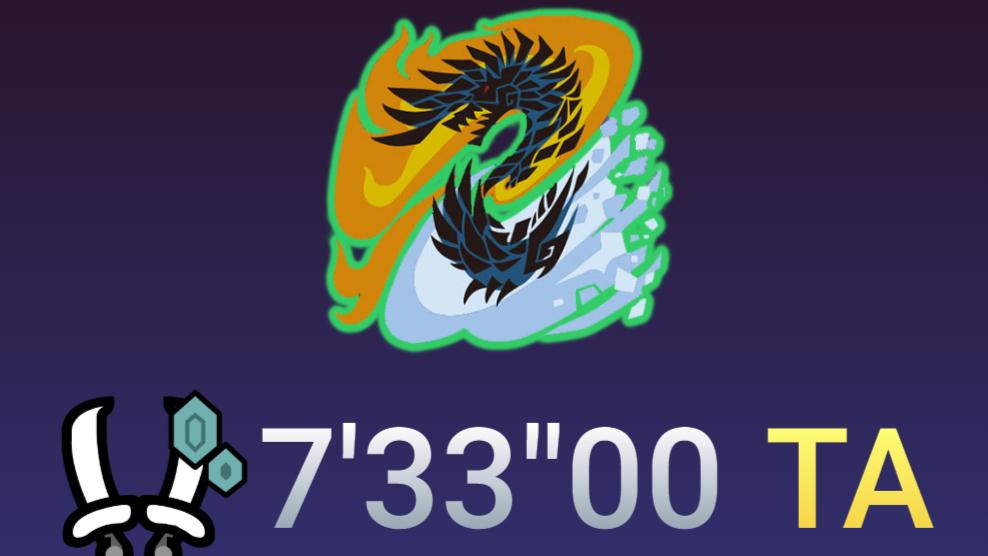 【MHWI】皇金冰双剑-火面煌黑龙-7分33秒-TA规则-疾风猎团双刀组-怪物猎人世界冰原