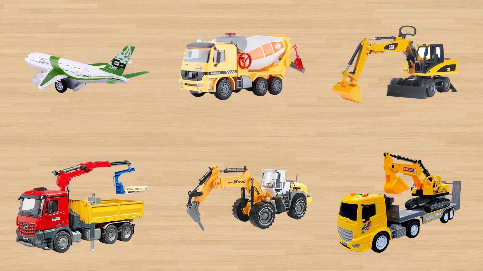 学习认识民航飞机搅拌车挖掘机 道路救援车碎地机运输车等工程车