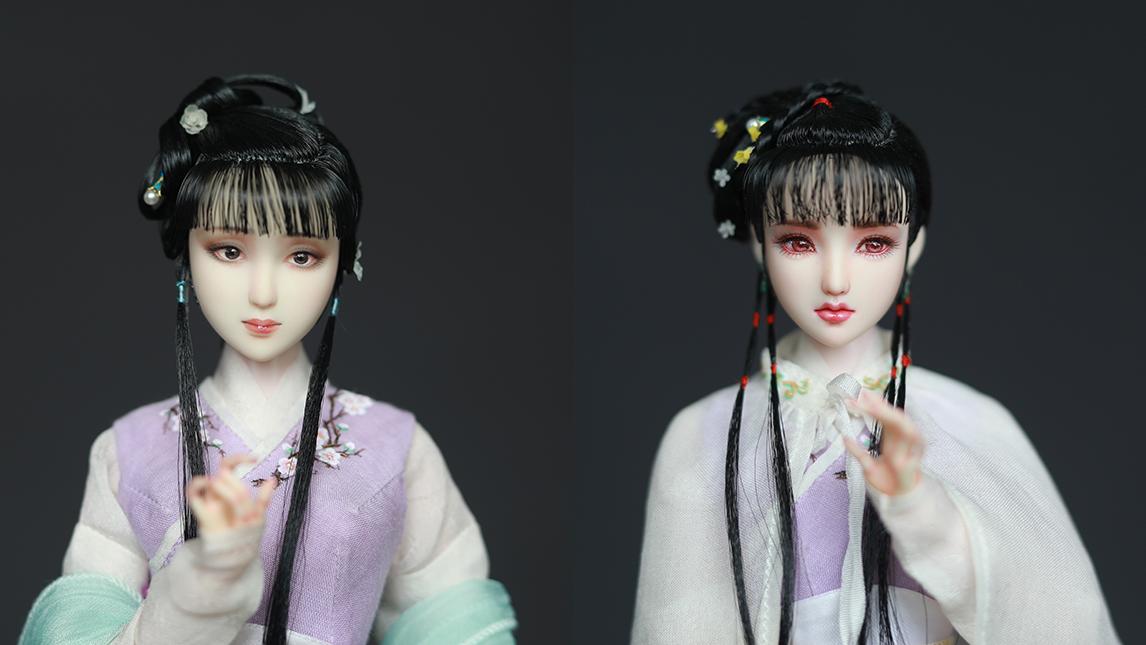 【二毛】【黛玉(双子)—6分娃娃古风发型&假发套制作记录(非教程)】