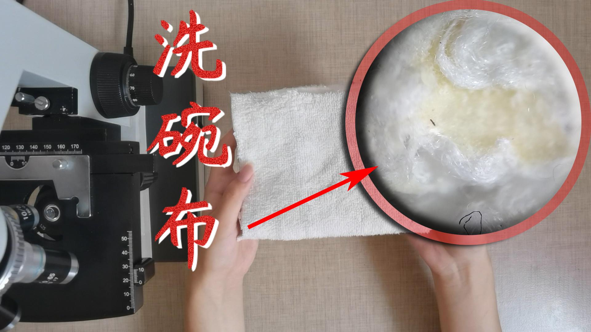 将洗碗布放显微镜下,表面暗黄黑点遍布,以后再也不用布擦碗了