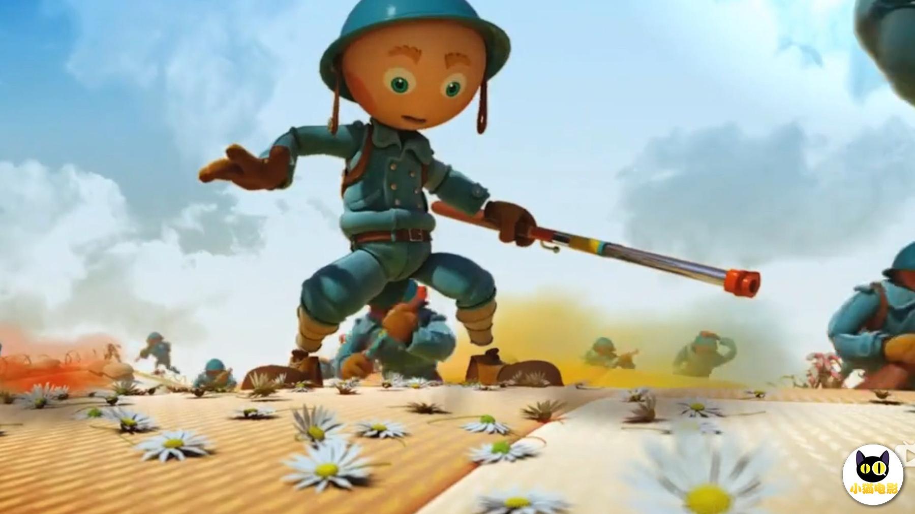 一部反战动画,士兵射出的子弹成了菊花,而战场也成了游乐场!