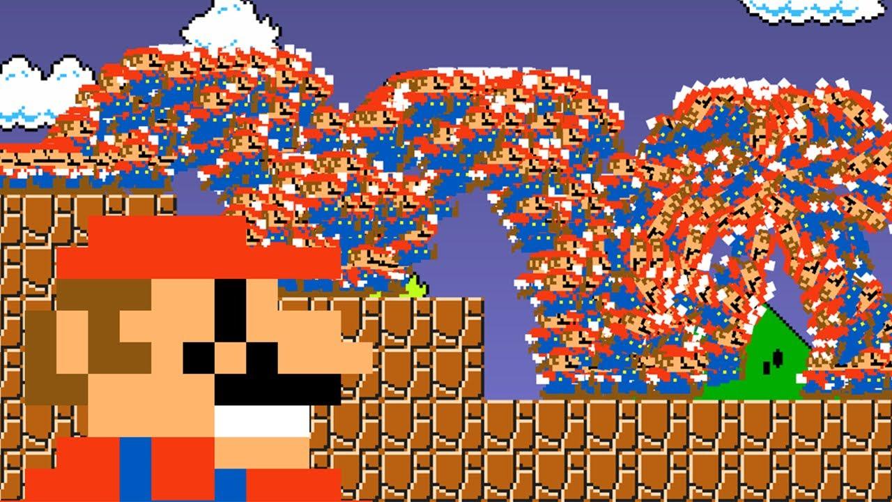 超级玛丽:马里奥超搞笑动画,当1000只马里奥闯关!