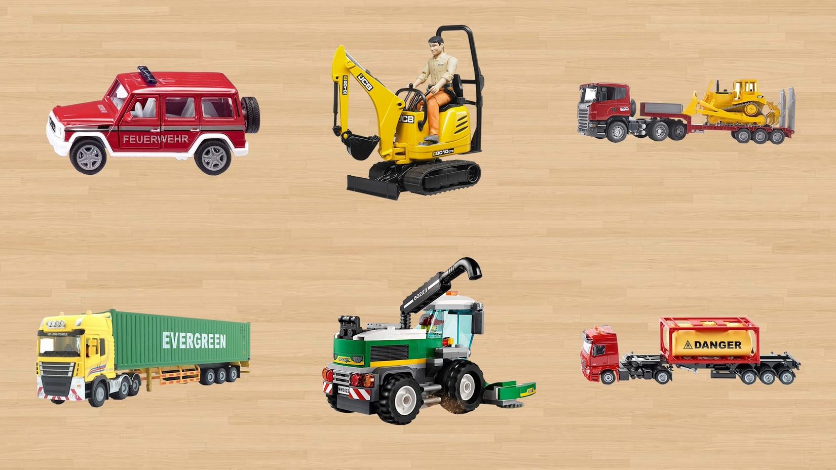 学习认识越野车挖掘机运输车 集装箱货车收割机油罐车等工程车