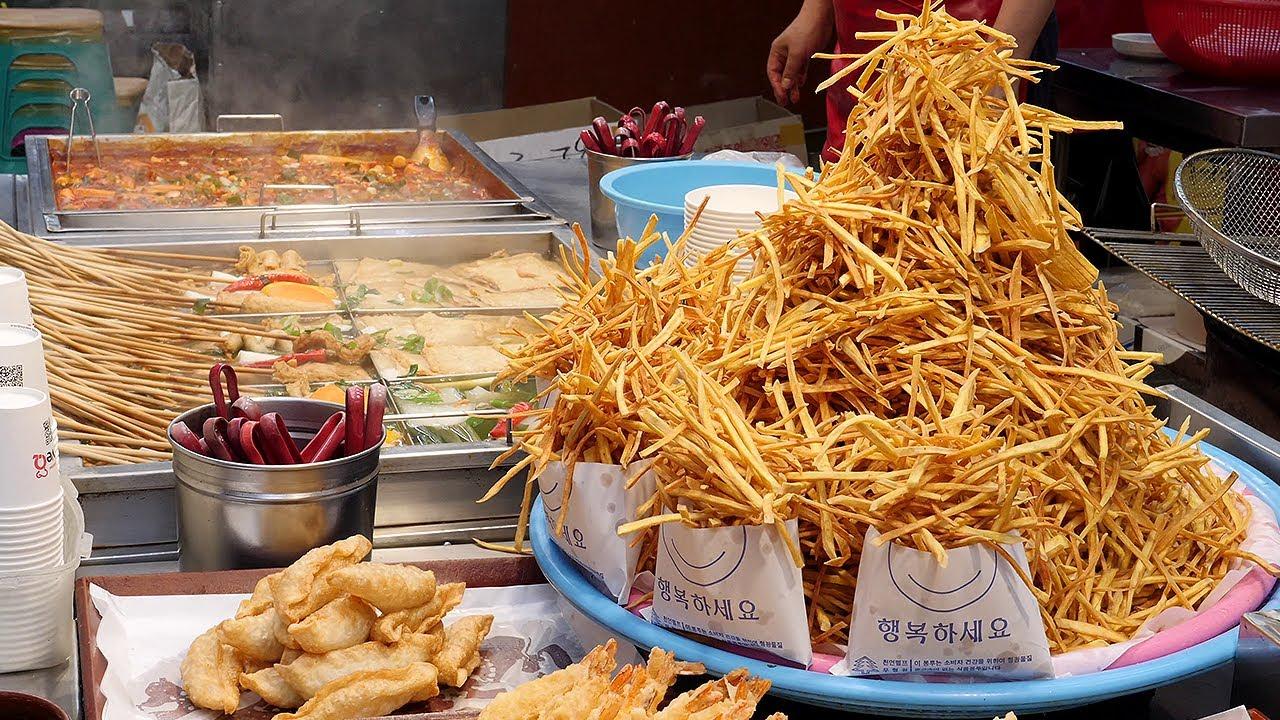 韩国街头的特色炸薯条,隔着屏幕咽口水!
