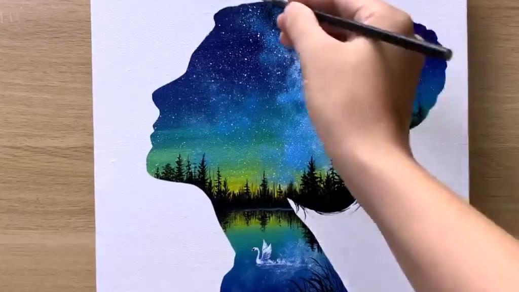 绘画《黑夜星空中的女孩儿》,看起来很简单吖