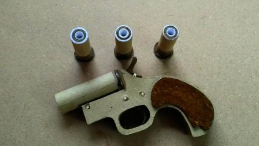 如何用纸板制单发纸板小手枪 wgog919-纸板手工制作