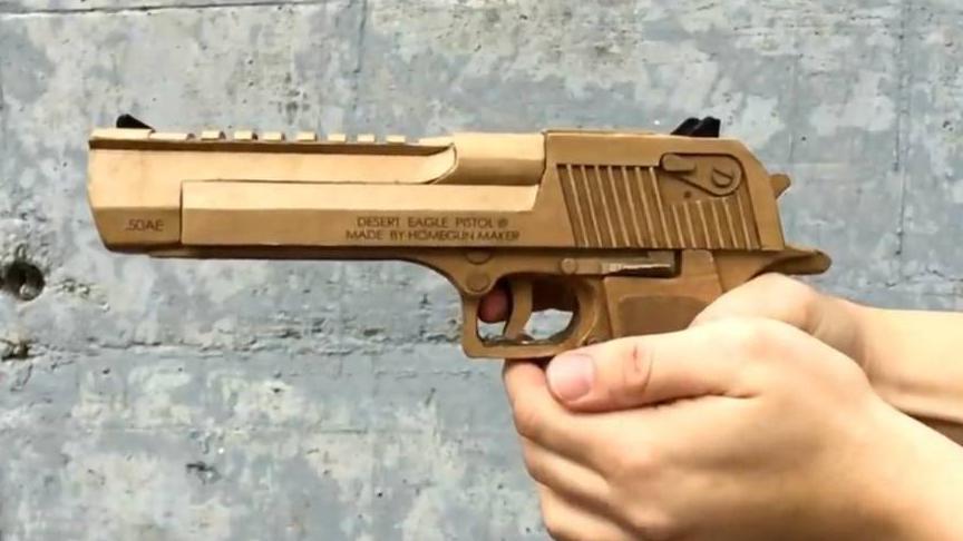 用纸板制作及其精致的自动手枪wgog924-DIY手工制作
