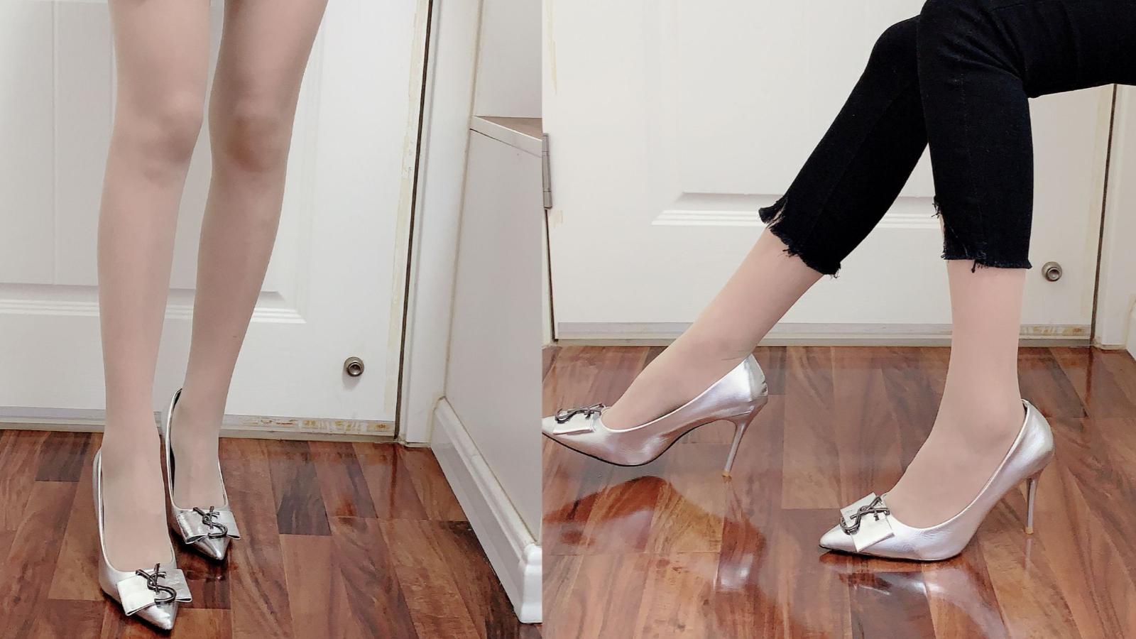 银色尖头高跟鞋,这么高的10厘米细跟,穿上非常舒服,非常好看