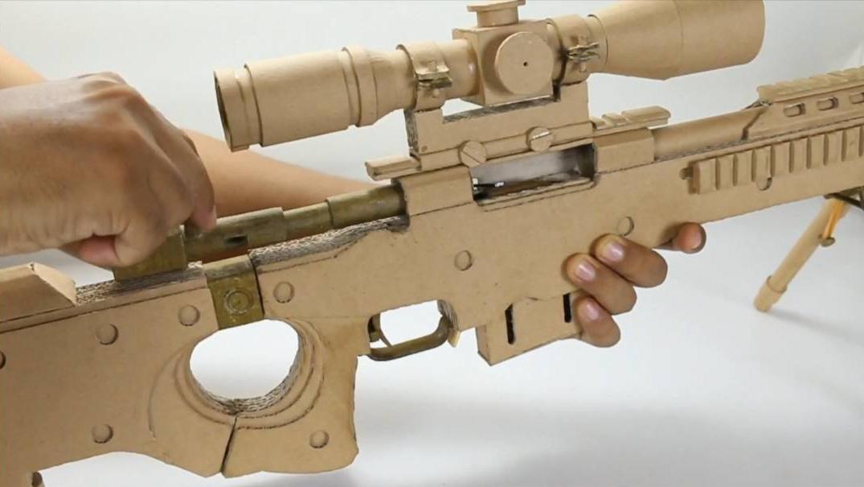 创意纸板手工制作用纸板制作一把非常有细节的狙击枪 型号wgog904