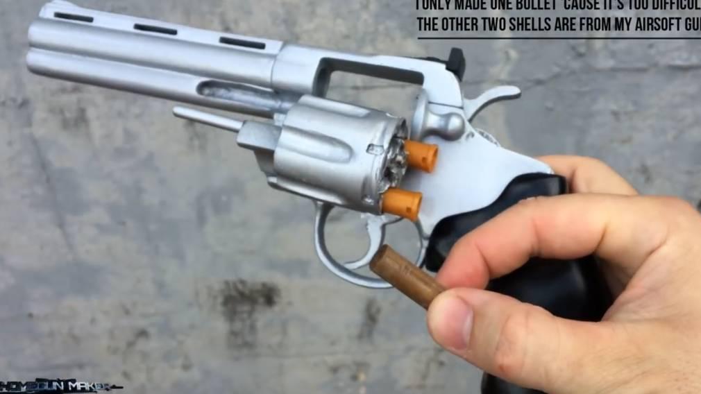 如何用硬纸板制作一把玩具纸板左轮手枪型号wgog929非常有质感
