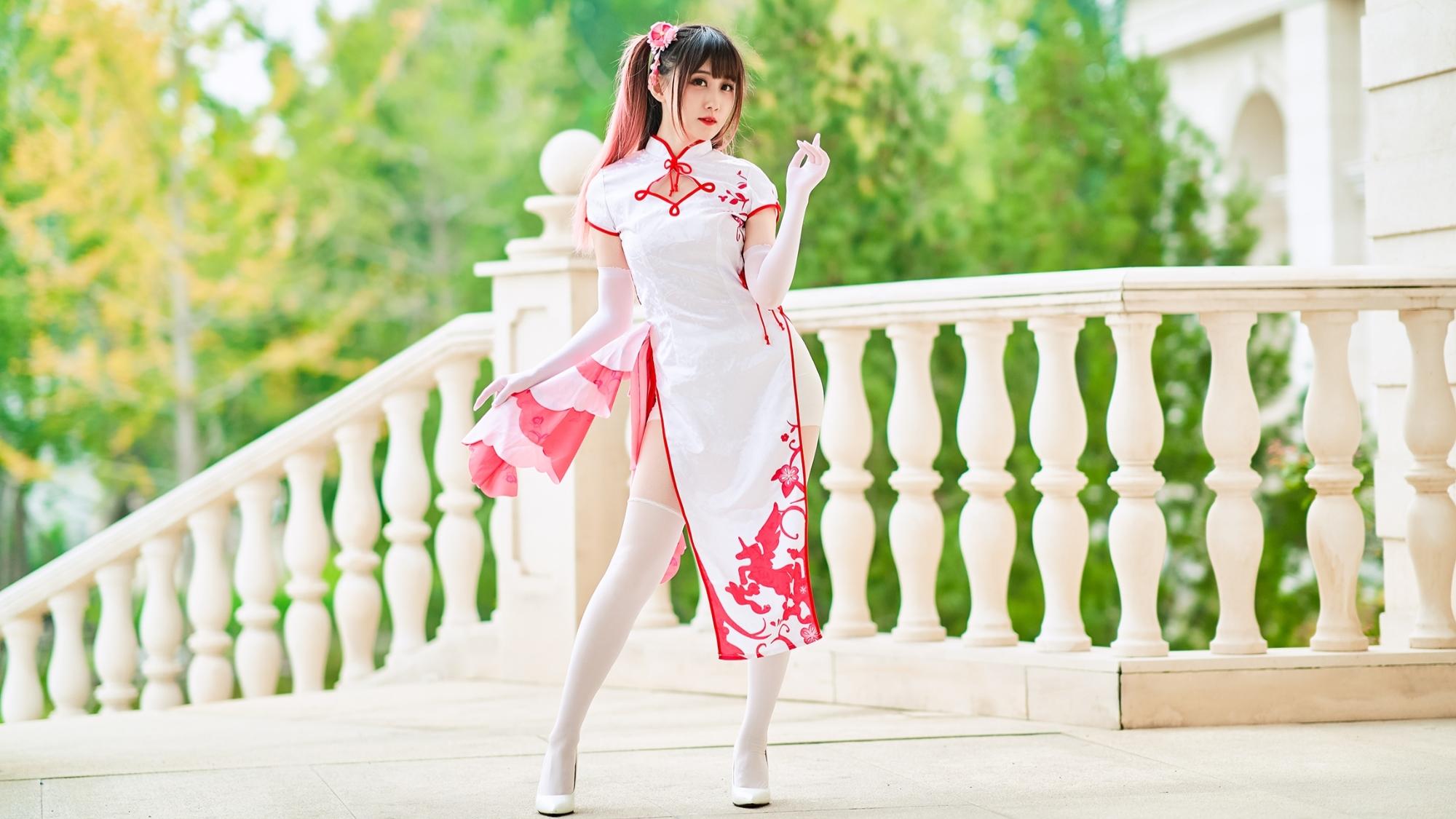 【@小萌】高跟旗袍❀你的风月,你的白丝萌~