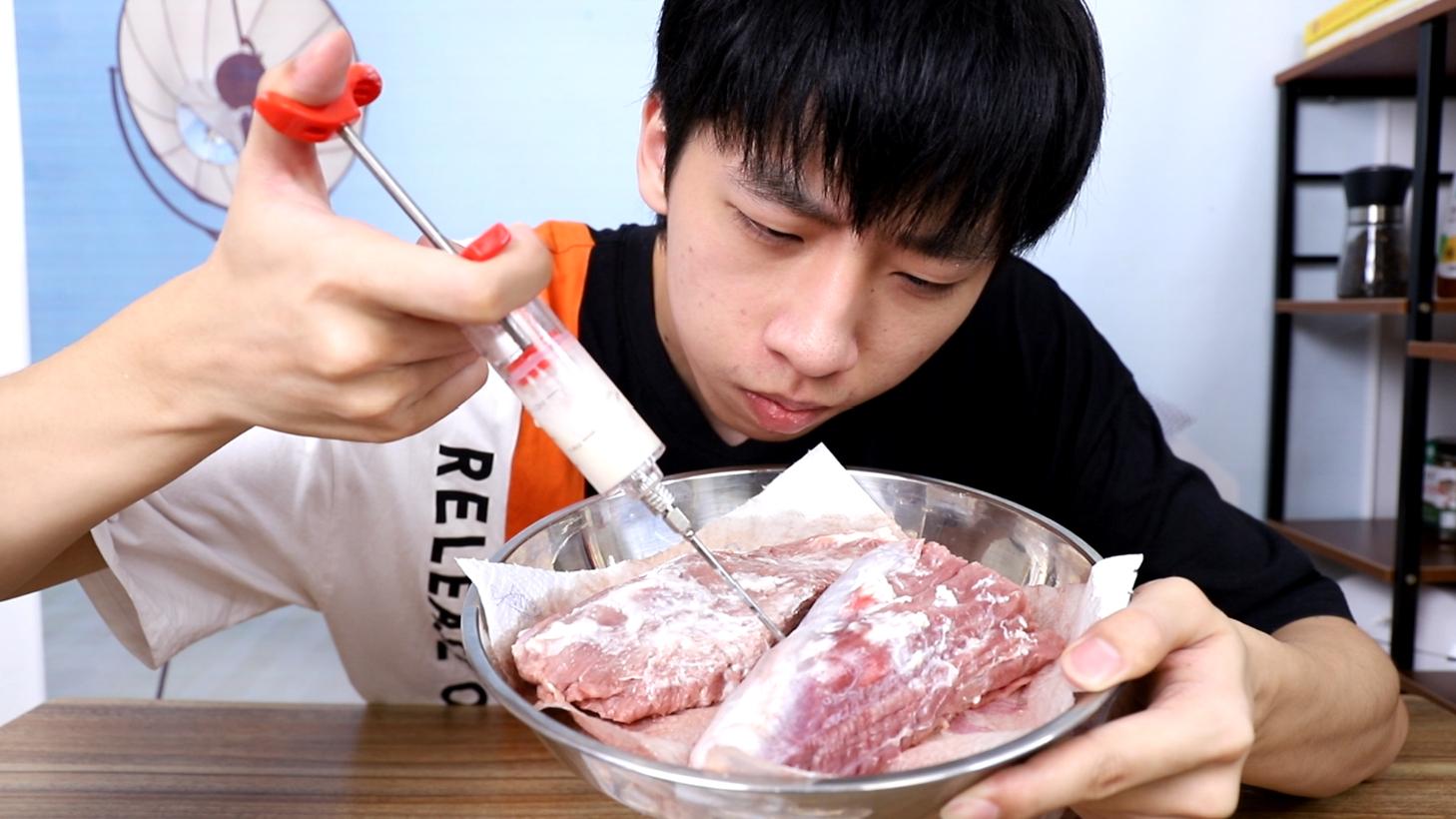普通牛肉注脂就变成和牛?帅小伙买来三斤菲力注脂尝试!