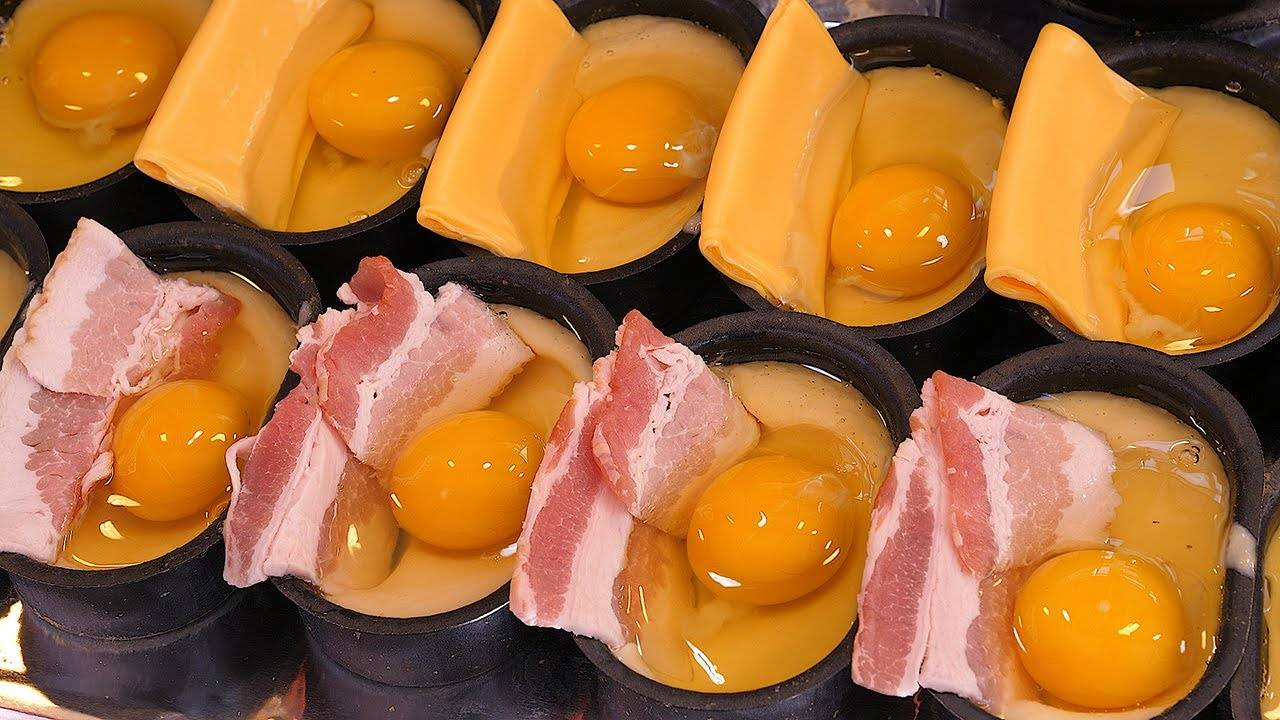 韩国街边火爆小吃:培根芝士蛋面包!