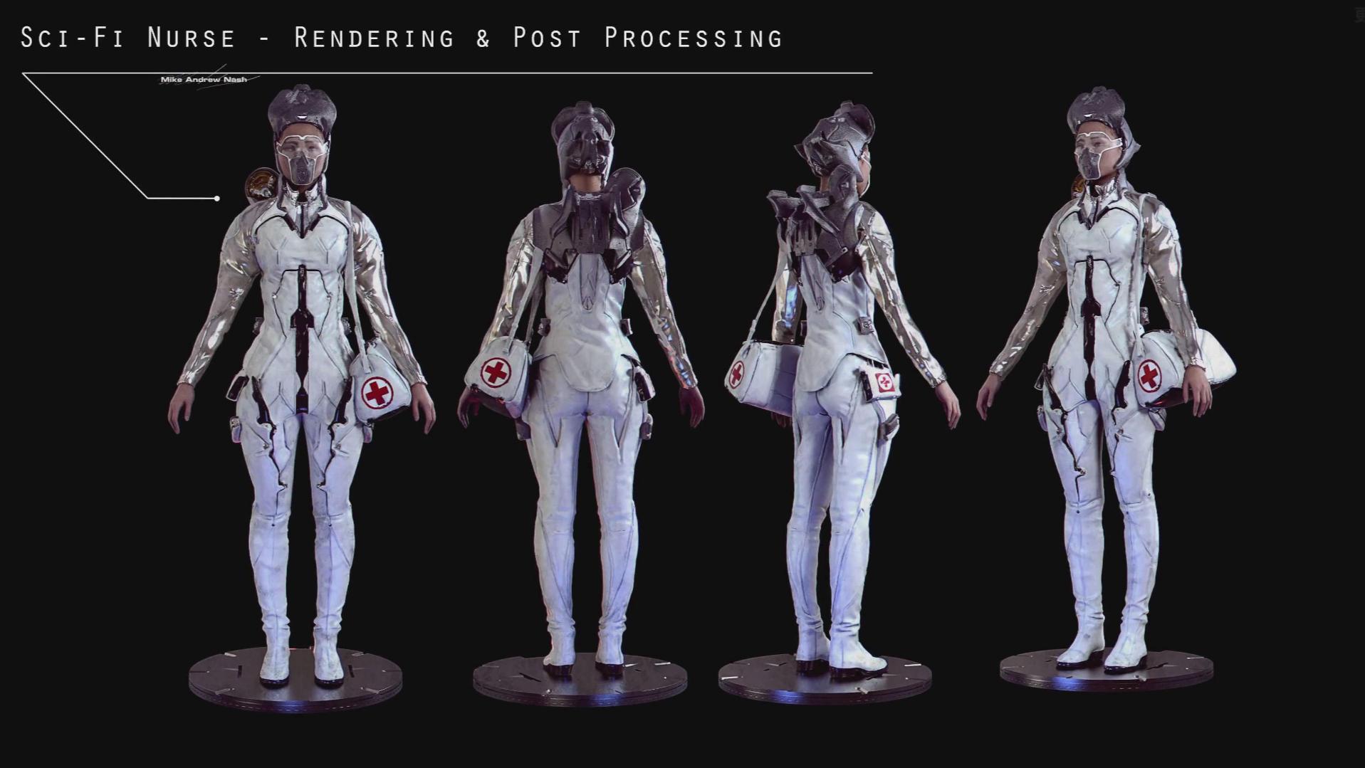 【ZBrush】ZBrush概念科幻护士雕刻渲染训练教程(中英双字)