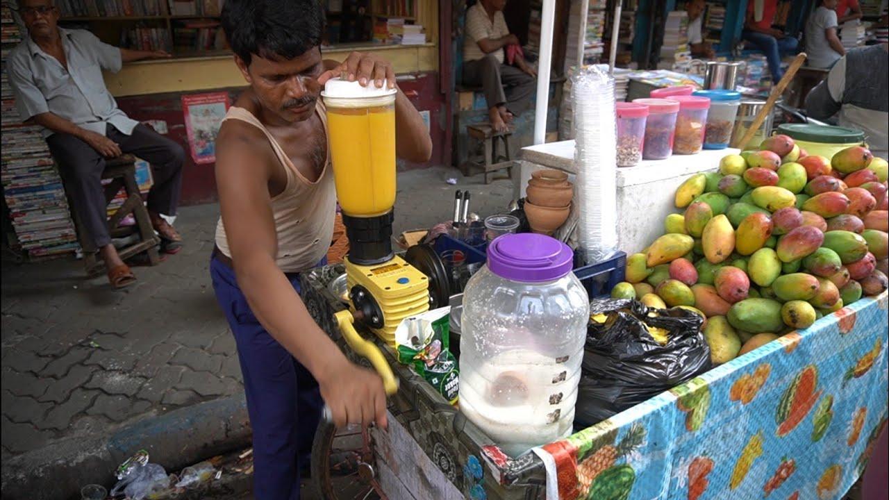 实拍印度街头的冰镇芒果汁,一个大芒果一杯,真材实料看得见