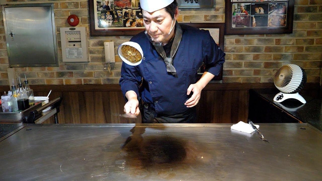韩料铁板烧,看看铁板炒饭的技术,师傅说炒饭是技术含量比较高的