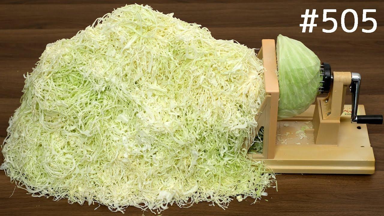 日本人嫌切包菜太费劲,发明了切包菜机,这效率,不怕没得吃了