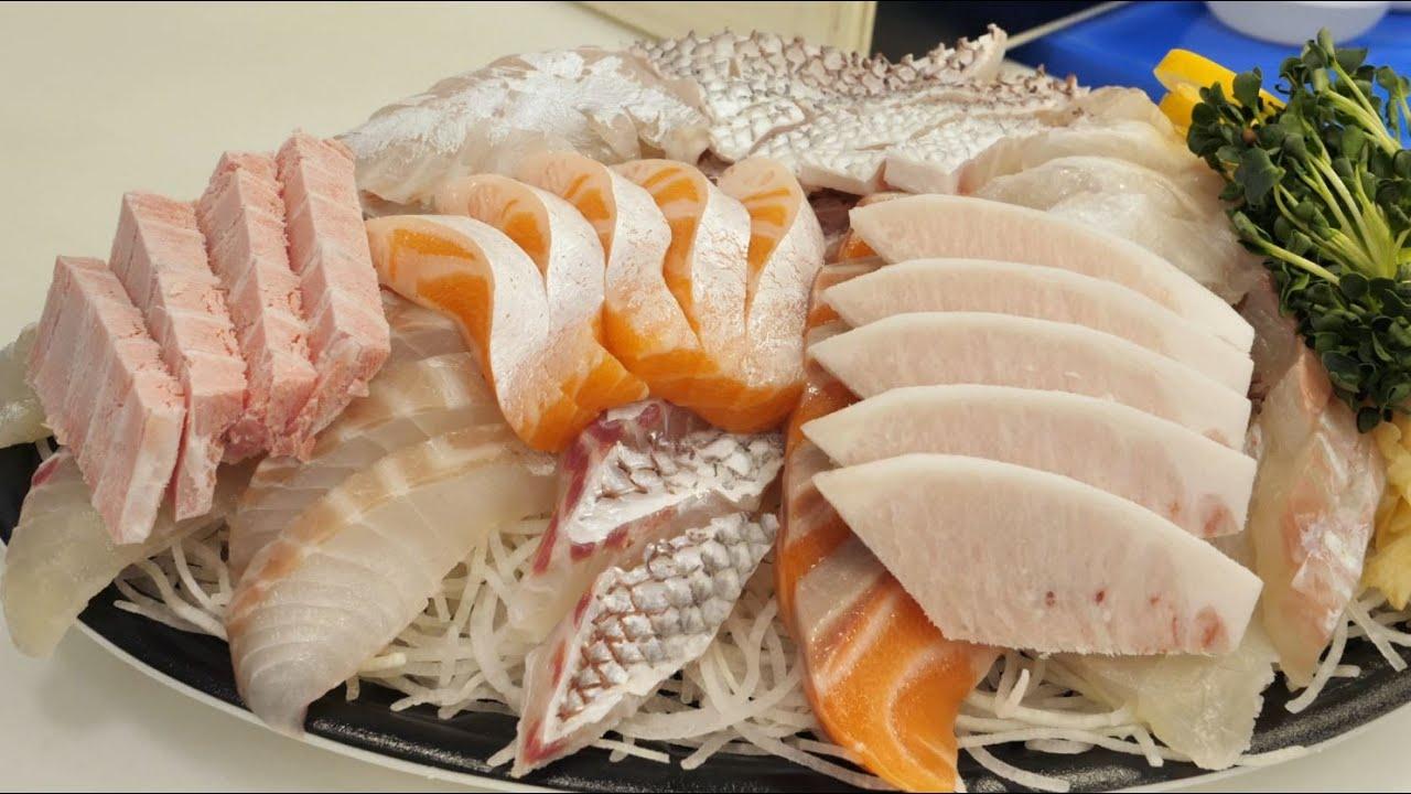 100,000韩元7种鱼最肥美的部位什锦生鱼片拼盘 , 韩国街头小吃