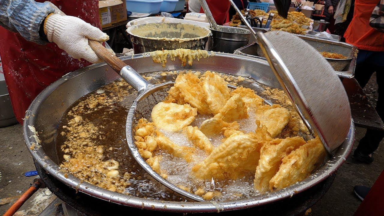 韩国最火爆的街头小吃,大妈一次炸一大锅,一会就卖完!
